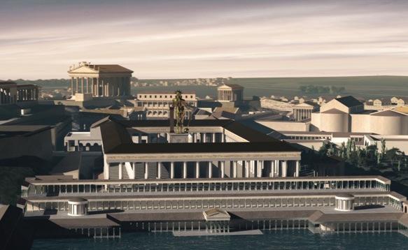 Il vestibolo della Domus Aurea con il Colosso dorato di Nerone e lo stagnum