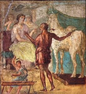 Affresco della casa: Dedalo presenta a Pasifae la vacca di legno