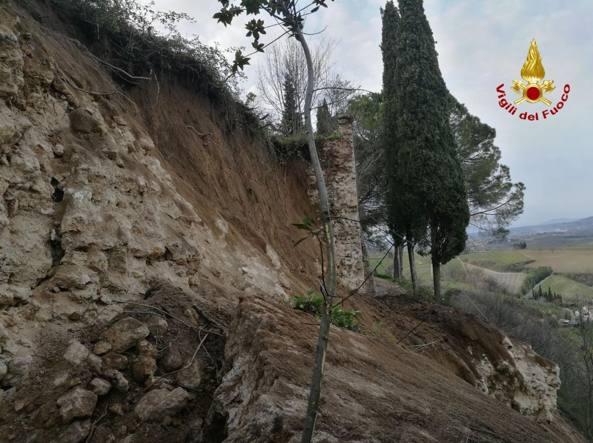 San Gimignano (Si), il tratto di mura crollato.