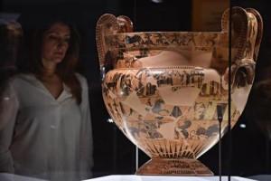 """""""Vaso Francois """" all'interno delle nuove sale del museo archeologico nazionale di Firenze, 6 aprile 2018 ANSA/MAURIZIO DEGL' INNOCENTI"""